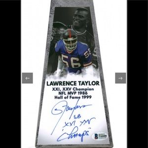 """NFL NY Giants Lawrence Taylor Signed 15"""" Trophy"""
